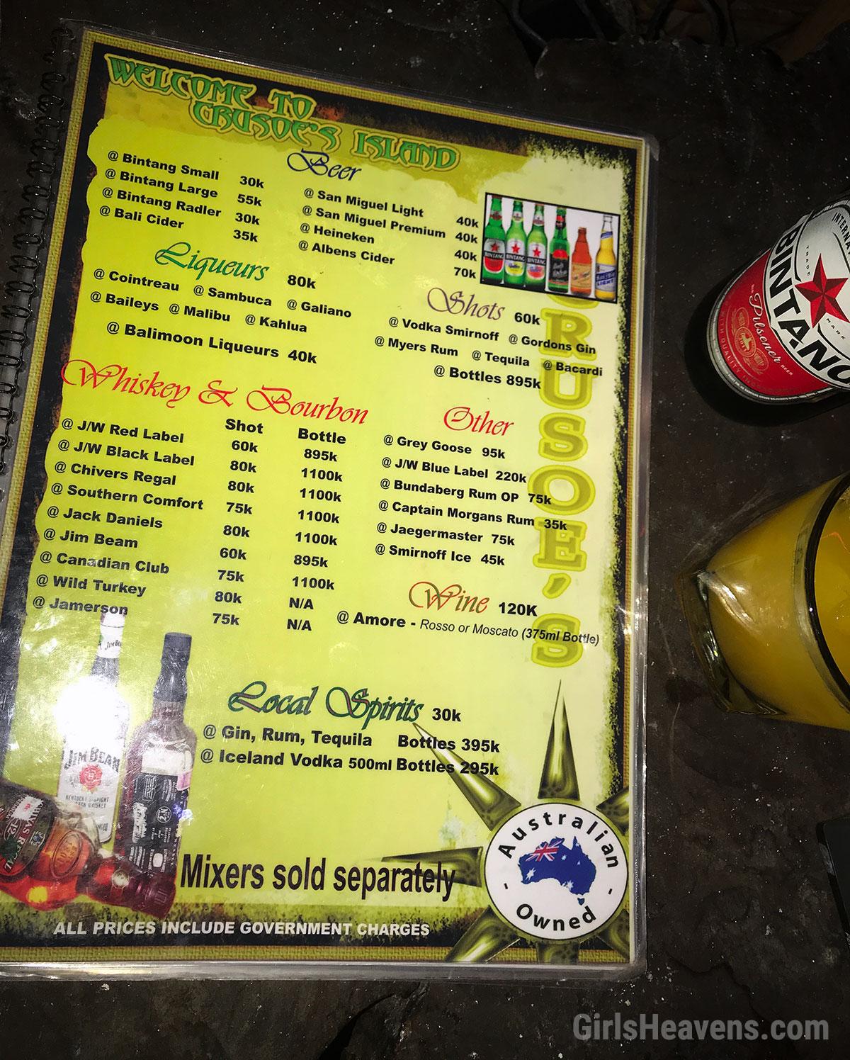 Bali Girly Bar Prices