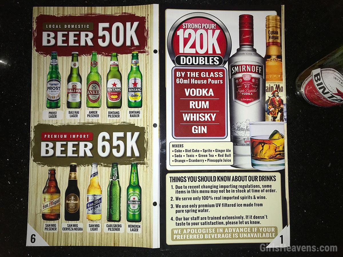 Bali Night Club Drink Prices