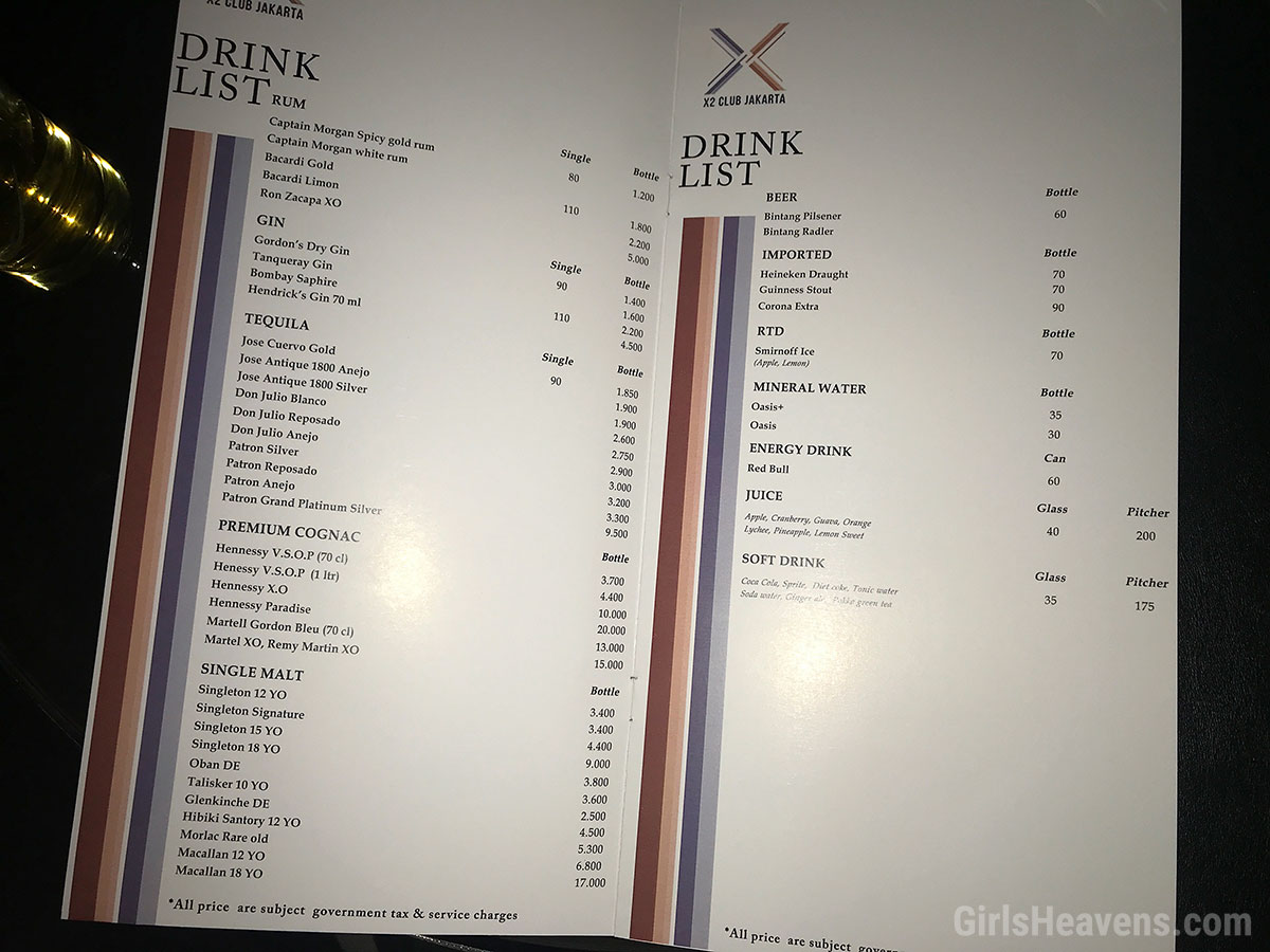 Jakarta Night Club Drink Prices