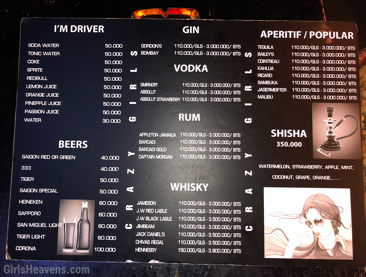 Saigon Girly Bar Prices